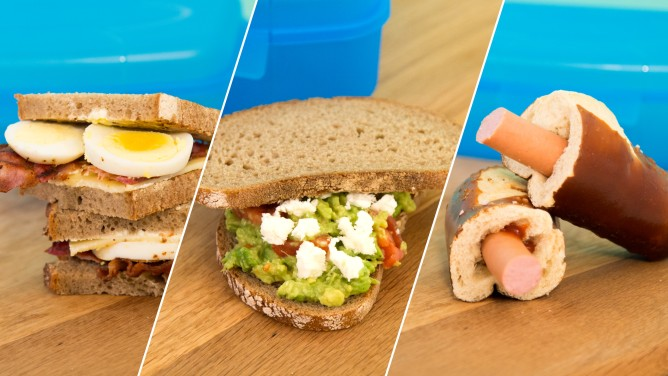 Pausenbrot: Avocado-Brot, Brotgesichter, Laugen-Hot Dog & Bacon-Ei-Brot